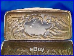Tabatière boite Louis XV / art nouveau argent massif 800 / vermeil