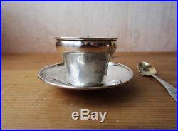 Tasse à café et sa cuillère en argent massif prénom Elisabeth Art nouveau ancien