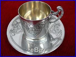 Tasse et sous-tasse en argent Denfert Ravinet Art nouveau