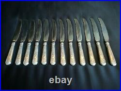 Tétard Frères 12 couteaux de table en argent fourré Modèle style Néogothique