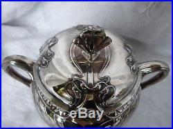 Théière et sucrier art nouveau en métal argenté Gallia 1900