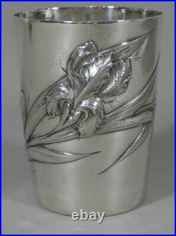 Timbale à l'Iris, Argent Massif époque Art Nouveau