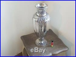Tres Jolie Et Grand Vase Art Nouveau En Metal Argente Gallia Christofle