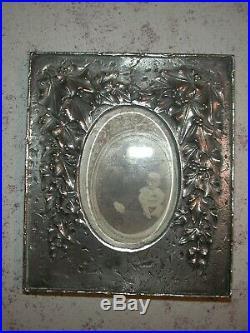Très beau cadre porte-photos Art Nouveau en Bronze argenté signé Leroyer