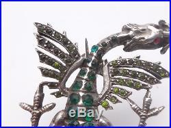 Très belle broche ancienne en argent massif et pierres dragon Art Nouveau 1900