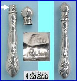 VIOLETTE Art Nouveau ARGENT Ancien nécessaire de couture Ciseaux brodeuse Etui