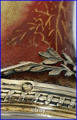Vase Baccarat Travail A L'acide Art Nouveau Base Cerclé Argent Massif