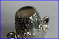 Vase aux éléphants Art nouveau argenté (32152)