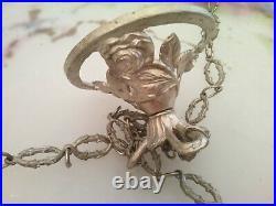 Vasque Lustre Pate De Verre Muller Fres Luneville Monture Bronze Argente 1900