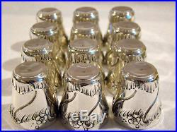 Verres à liqueur style Louis XV en argent massif Minerve et vermeil