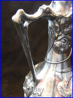 Verseuse Art Nouveau WMF en étain argenté Jugendstil Décor d'Iris