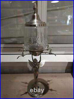 Versinthe Fontaine à Absinthe Nymphe Femme Art Nouveau Bronze Argenté