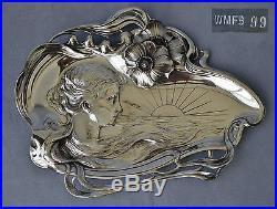 WMF Plateau à Cartes Card Tray Métal Argenté Art Nouveau Jugendstil 1890/1900