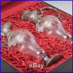 WMF Style Art Nouveau, Art Nouveau 2 Glas Carafes im orig. Valise, plaqué argent