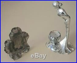 WMF art nouveau bougeoir et médaillon métal argenté