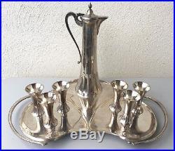 WMF, service à liqueur Art Nouveau en métal argenté, jugendstil