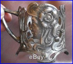 WMFB 2 porte-verre art nouveau 1900 régule argenté Femme styl Mucha Jugendstil