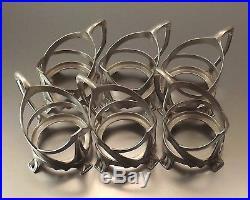 Wmf 6 Verres Gobelets Art Nouveau Jugendstil Metal Argente Et Cristal Vers 1910