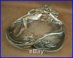 Wmf Belle Coupe En Metal Argente D'epoque Art Nouveau Decor De Femme