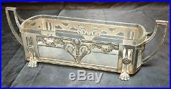 Wmf Jugendstil Jardiniere centre de table art nouveau métal argenté & cristal