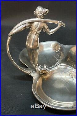 Wmf Serviteur Metal Argente D'epoque Art Nouveau