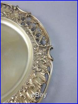 Wolfers Plat assiette en vermeil argent massif Art Nouveau fleurs