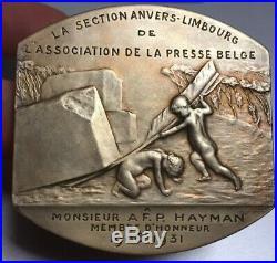Xtra Rare Médaille Art Nouveau en Argent 1906 1931 par Devresse RARE in SILVER